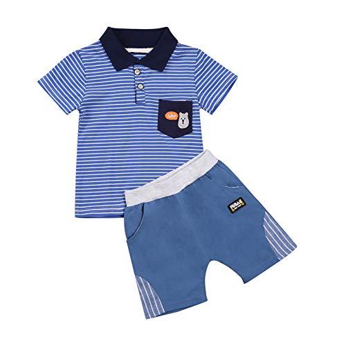 2 Teile Baby Jungen Sommer Kleidungssets Kurzarm Gestreifte Karikaturdruck T-Shirt, Jeans Shorts Jungen Sommeranzug Kleiner JungeTaufanzug Outfits 0-3 Jahre (Blau-Streifen, 18-24 Monate)