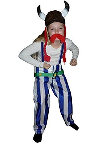Gallier-Kostüm, TO08 Gr. 116-122, mit Helm und Zöpfen!, für Kinder, Gallier-Kostüme, Fasching Karneval, Karnevalskostüme, Kinder-Faschingskostüme, Geburtstags-Geschenk Weihnachts-Geschenk
