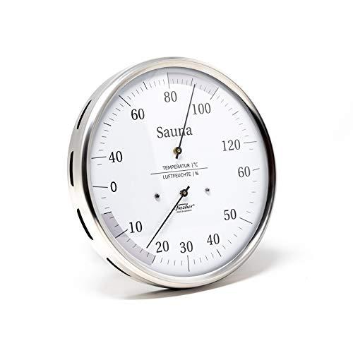 Fischer 194.01 - Sauna-Thermohygrometer - 130mm Haar-Hygrometer und Bimetall-Thermometer aus Edelstahl Made in Germany