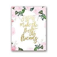 """姉妹は親友を作るキャンバス絵画ピンクの女の子部屋の壁アート絵の装飾花のポスタープリント7.9""""x13.8""""(20x35cm)フレームレス"""