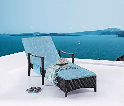 Luxus Gartenliegeauflage mit Memory Foam 190x50 cm - Ultra Soft mit Seitentasche - hochwertige Liegen Auflage