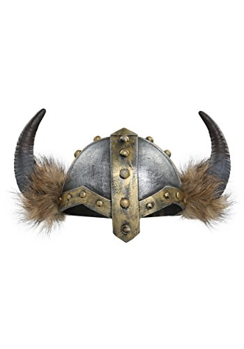 Fun Costumes Women's Horned Viking Faux Fur Trimmed Helmet Standard Silver