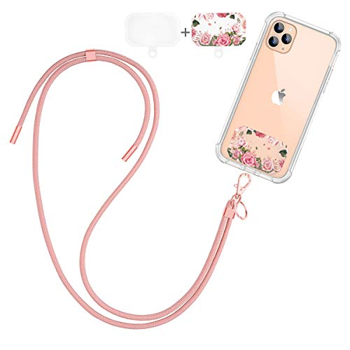 Dracool Handykette Universal Schlüsselband Umhängeband Halsband zum Umhängen Nylon Kompatibel mit iPhone 11 12 Pro Max 7 8 X XR Samsung Huawei Xiaomi und Mehr Smartphone - Roségold