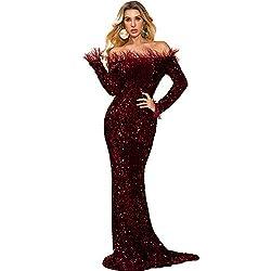 Off Shoulder Long Sleeve High Split Burgundy Sequin Floor Length Dress