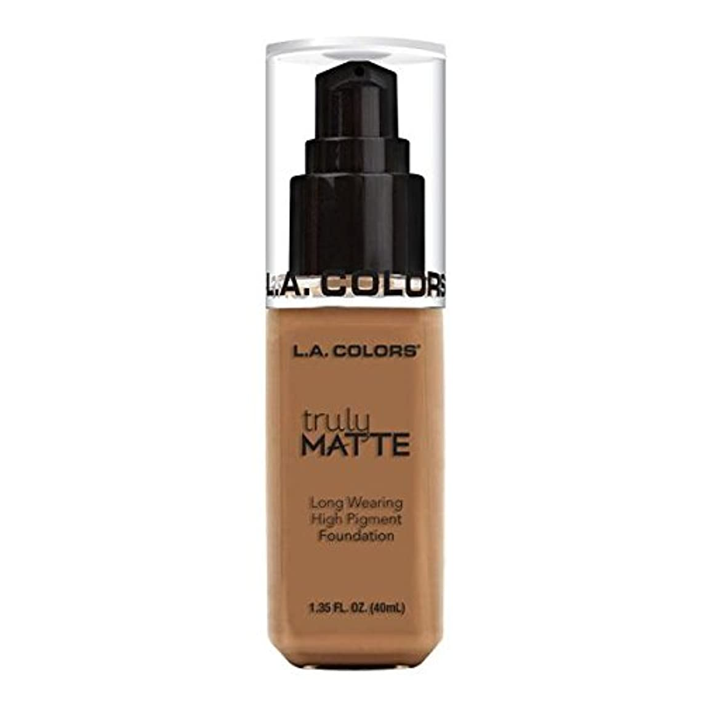 遺跡接続吐く(3 Pack) L.A. COLORS Truly Matte Foundation - Deep Tan (並行輸入品)