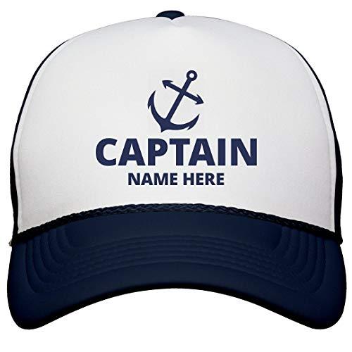 Captain Custom Name Dad Gear: Snapback Trucker Hat White/Navy