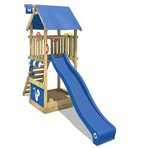 WICKEY Parque infantil de madera Smart Club con tobogán azul, Torre de escalada de exterior con...