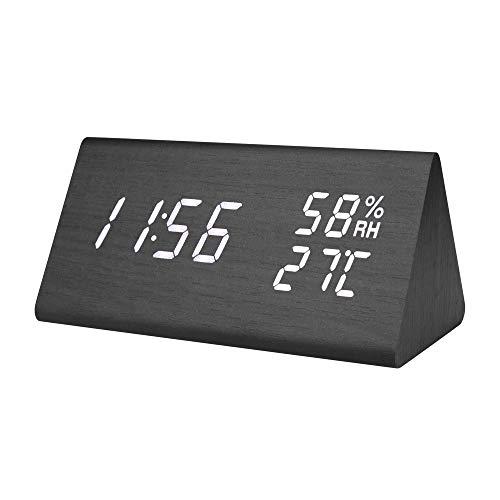E-More Reloj Digital,Reloj Despertador con Alarmas Programables,Pantalla LED de Fecha, Brillo de Niveles, Temperatura y Humedad Reloj de Grano de Madera para Habitaciones