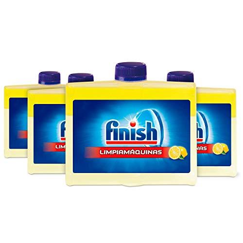 Finish Lavavajillas limpiador de 250 ml, paquete de 4, con 5 acciones limpiadoras y brillo al limón