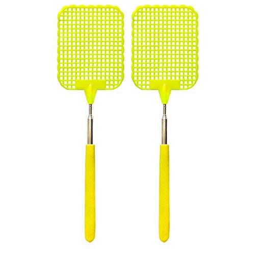 Veroline 2 x Fliegenklatsche/Insekten/Mückenklatsche - Teleskop ausziehbar - Edelstahl - einzeln oder als Paar - Bei Fliegen, Mücken, Stechmücken, Moskitos und Insekten (2, Gelb)