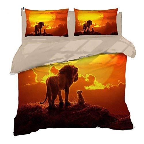 Erbaeo 4 delar barnpåslakan med 1 dra-på-lakan och 2 kuddar, lejondjur - sängkläder med tryck med blixtlåsstängning, pojkar barn påslakan super king: 260 x 230 cm