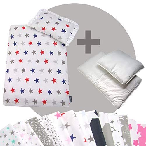 Rawstyle 4 tlg. Set Bezug (STARS) für Kinderwagen Bettwäsche Decke + Kissen + Füllung (Design 11)