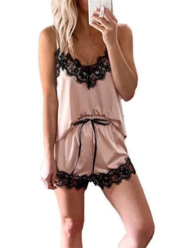 Dokotoo Pajama Shorts for Women Cami and Shorts Sets Womens Sexy Lace Trim Satin Silk Soft Cute Night Sleepwear Pj Sets Apricot Small