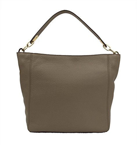 "100% Cow Leather; Gold tone hardware Interior: Two Zip Pocket, Three Open Pockets, One Cell Phone Pocket, One Key Fob Measures 11.25""W X 10.5""H X 3.75""D 10"" Handle Drop Top Zip Fastening; 100% Polyester Lining"
