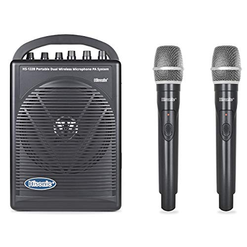 HISONIC HS122BT-HH Portable PA System with Dual Channel Wireless Microphones (Two...