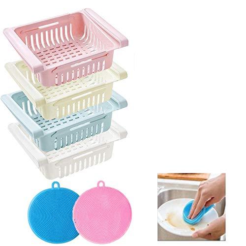 CDblue kühlschrank Schubladen, Einstellbare Lagerregal Kühlschrank Partition Layer Organizer, Ausziehbare Kühlschrank Schublade Organizer Kühlschrank Aufbewahrungsbox (4 Stück)