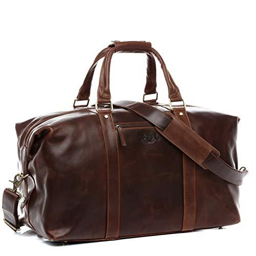 SID & VAIN® borsa da viaggio vera pelle vintage ZANE grande XL borsa da weekend 65 l borsone uomo cuoio marrone