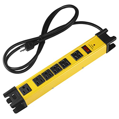 Heavy Duty Power Strip Surge Protector, 6 Outlet Industrial Power Strip with 15A, Shop Workshop...