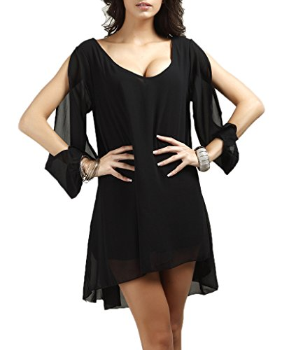 COMVIP Femme Vogue Manche Longue Robe en Chiffon Lâche Décolleté Sexy Noir Size S
