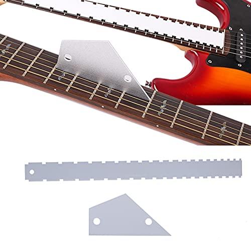 Regla de cuello de guitarra, juego de herramientas de medición de guitarra de cuello de aluminio plateado para guitarra eléctrica para bajo(Silver)