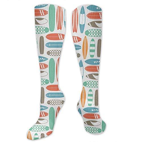 Tabla de surf Colorido Surf Mar Calcetines retro Calcetines atléticos Calcetines hasta la rodilla para hombres Mujeres Calcetines largos deportivos Medias 50CM