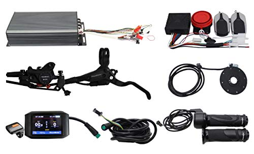 HalloMotor Ebike Electric Bicycle 48V 60V 72V 3000W eBike 100A Programmable Sine Wave Regenerative Function Controller Kit with Alarm System+750C Color Display+PAS,Alarm