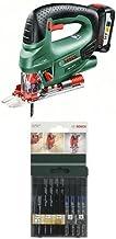 Bosch PST 18 Li Set - Sierra de calar con batería de litio (45 W, 18 V) + Bosch 2 609 256 776 - Juego de hojas de sierra de calar de 10 piezas vástago en U