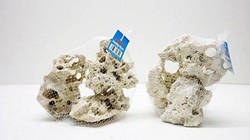Pro NETZ Premium weißes Lochgestein Größe M 2Kg Netze Aquarium Dekostein Felsen