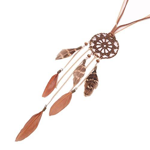 Beyond Dreams® Kette Schmuck für Damen mit Dreamcatcher   Lange Halskette Modeschmuck für Frauen   Feder Accessoires Indianer Schmuck   Leder Federkette mit Traumfänger Anhänger