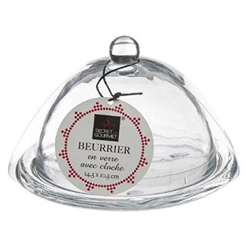 Beurrier en verre, cloche à beurre ronde, bol à beurre vintage, bol classique avec couvercle, récipient à beurre, jeté de beurre, passe au lave-vaisselle – Verre solide et de qualité supérieure.