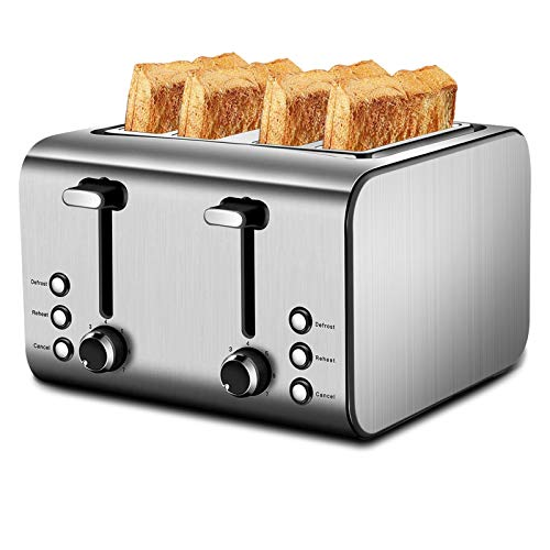 4-Slice Toaster with Reheat, Defrost and Cancel Function, Extra Wide Slots Compact Stainless Steel Toasters with 9 Toast Shade Settings and Removable Crumb Trays, 1500W