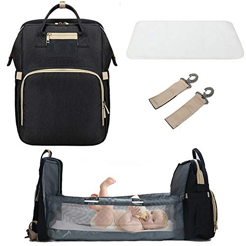 3 in 1 Travel Bassinet Foldable Baby Bed, Portable Diaper Changing Station Mummy Bag Backpack Crib, Portable Bassinets for Baby and Toddler, Travel Crib Infant Sleeper, Baby Nest with Mattress (Black)