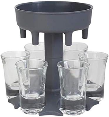 Glass Dispenser and Holder(Including 6 Shot Glasses), Shots Dispenser for Filling Liquids, Bar Shot Dispenser, Dispenser With Slogan, Carrier Liquor Dispenser Gifts Drinking Tool (Grey)
