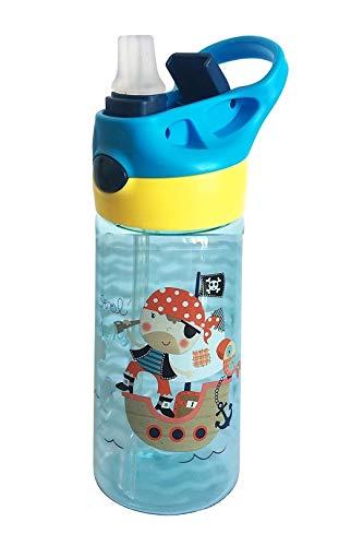 Botella de Tritan Niños y Bebes ♻ Jarra Reutilizable con Sistema Antigoteo de 450ml - Facil Apertura (Pulsador Manual) - Sin BPA para Uso Diario y Aprendizaje Infantil - Material Ligero y Resistente
