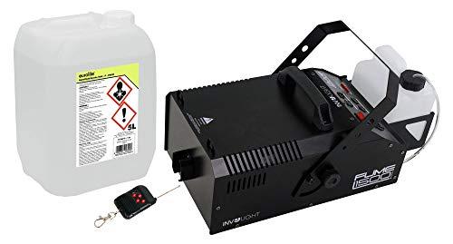 Involight Fume 1500 DMX Nebelmaschinen Set (das ideale Set für Profis: Nebelmaschine mit DMX, 566 m3/min Ausstoßweite & Funkfernbedienung, inkl. 5L Nebelfluid, auf Wasserbasis & geruchlos)