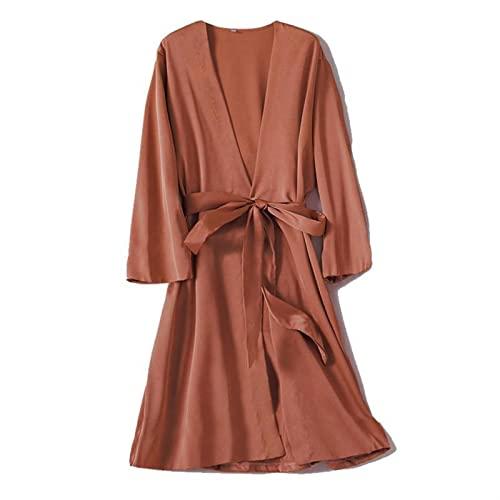 AWSXDC Robe de Satén Femenino Íntimo Lencería Ropa de Dormir Sedoso Nupcial Regalo de Boda Casual Kimono Albornoz Bata Camisón Camisón Sexy Ropa de Dormir (Color : 09, Size : XL)