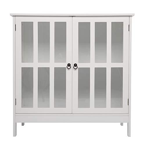 Side Cabinet; Storage Organizer Kitchen Cupboard with Transparent Double Doors; White
