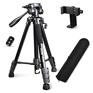 """Torjim 60"""" Camera Tripod with Carry Bag, Lightweight Travel Aluminum Professional Tripod Stand (5kg/11lb Load) with Bluetooth Remote for DSLR SLR Cameras Compatible with Phone-Black"""