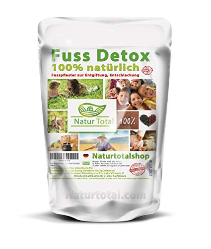 Fuss Detox Pflaster - 6 Fuß Pflaster mit Turmalin sanfte Entgiftung, Entschlackung 100% natürlich für ca. 3 Monate