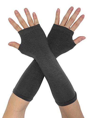 Sourcingmap Damen Elastisch Fingerlos Herzdruck Streifen Strick Handschuhe Grau One Size