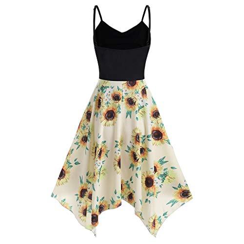 UYSDF Fashion Kleidung Plus Größe Mode Damen Sonnenblume Drucken Asymmetrisch Camis Taschentuch Kleid