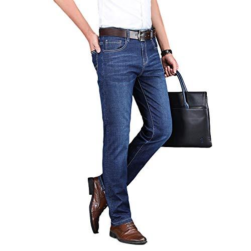 Pantalones vaqueros de primavera para hombre Estilo retro clásico Pantalones de negocios casuales rectos elásticos de tendencia delgada, para trabajo de oficina, eventos formales e informales 31