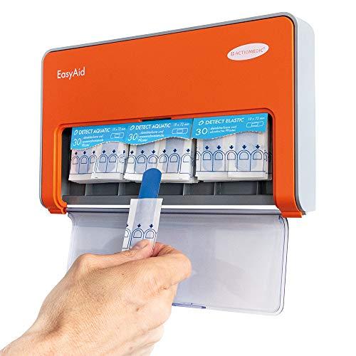 EasyAid Pflasterspender mit DETECT 1, inkl. detektierbare 90 Pflaster-Strips für die Lebensmittel-Industrie I Mit Kanban-System und Montagematerial für die Wandmontage