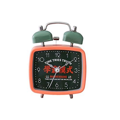 YITIANTIAN Relojes de Escritorio Reloj Despertador Mudo Metal Retro Personalidad Creativa Dormitorio Reloj de la Sala de Estar Reloj de Cama Silencioso (Color : B)