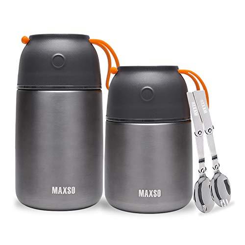 XIAPIA Boîtes Porte Alimentaires Isotherme Set – 500ml +700ml Premium Thermo Isolant Contenant Inoxydable | Conteneur, Récipient Thermique pour Aliment, Repas Cafe Chaud ou Froid | sans BPA (Gris)