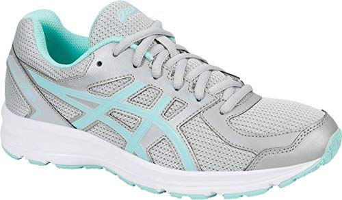 Image of the ASICS Jolt Women's Running Shoe, Glacier Grey/Aqua Splash/White, 10 W US