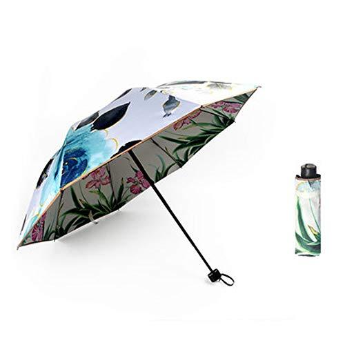 HDJX Sonnenschirm, Doppelschirm, Sonnenschirm, Schmetterling Tanz, doppelseitiger Druck, Regenschirm, schwarzer Kunststoff Sonnenschutz, Anti-UV Weibliche-1