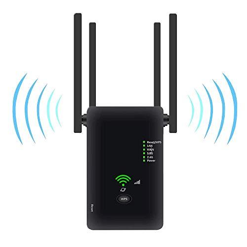 KPGANA - Repetidor wifi, amplificador wifi inalámbrico 1200 Mbps, soporta wifi doble banda 2.4G y 5,8 G, con modo AP/router/repetidor, soporte de ajuste con una tecla WPS