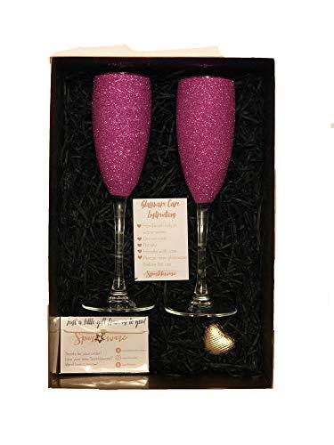 Sparkleware Sektgläser, glitzernd, 2 Stück, glas, rose, 170ml