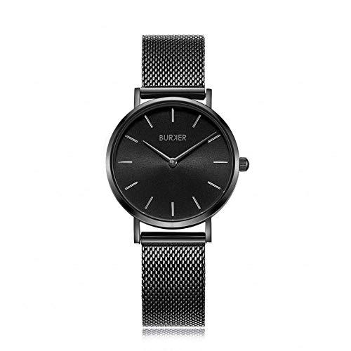 Burker Ruby – Damenuhr Schwarz | 38mm Schwarze Uhr für Damen mit Ziffernblatt | Frauen Quarz Armbanduhr wasserdicht (30M) | Kleines Flaches Watch Gehäuse – Uhren Armband inklusive